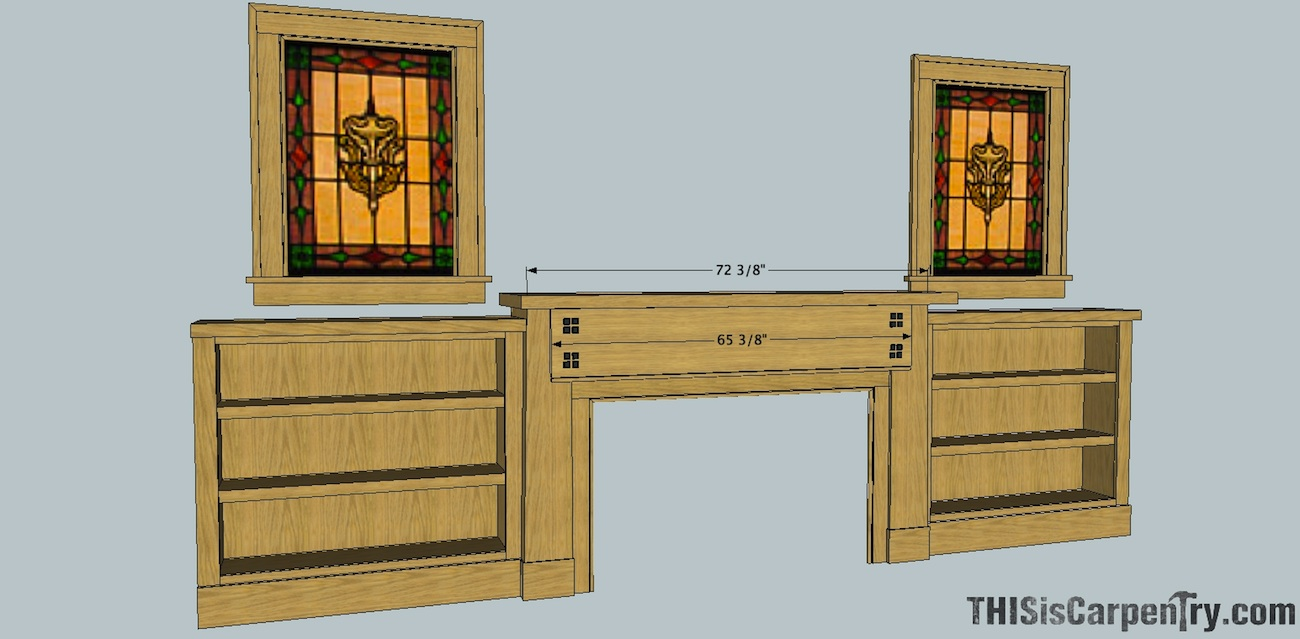 Craftsman style mantel bookcases thisiscarpentry for Craftsman style bookcase plans