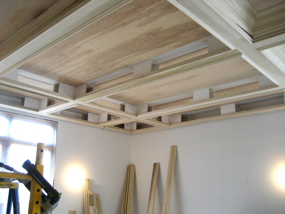 A coffered ceiling media room thisiscarpentry for Foam coffered ceiling