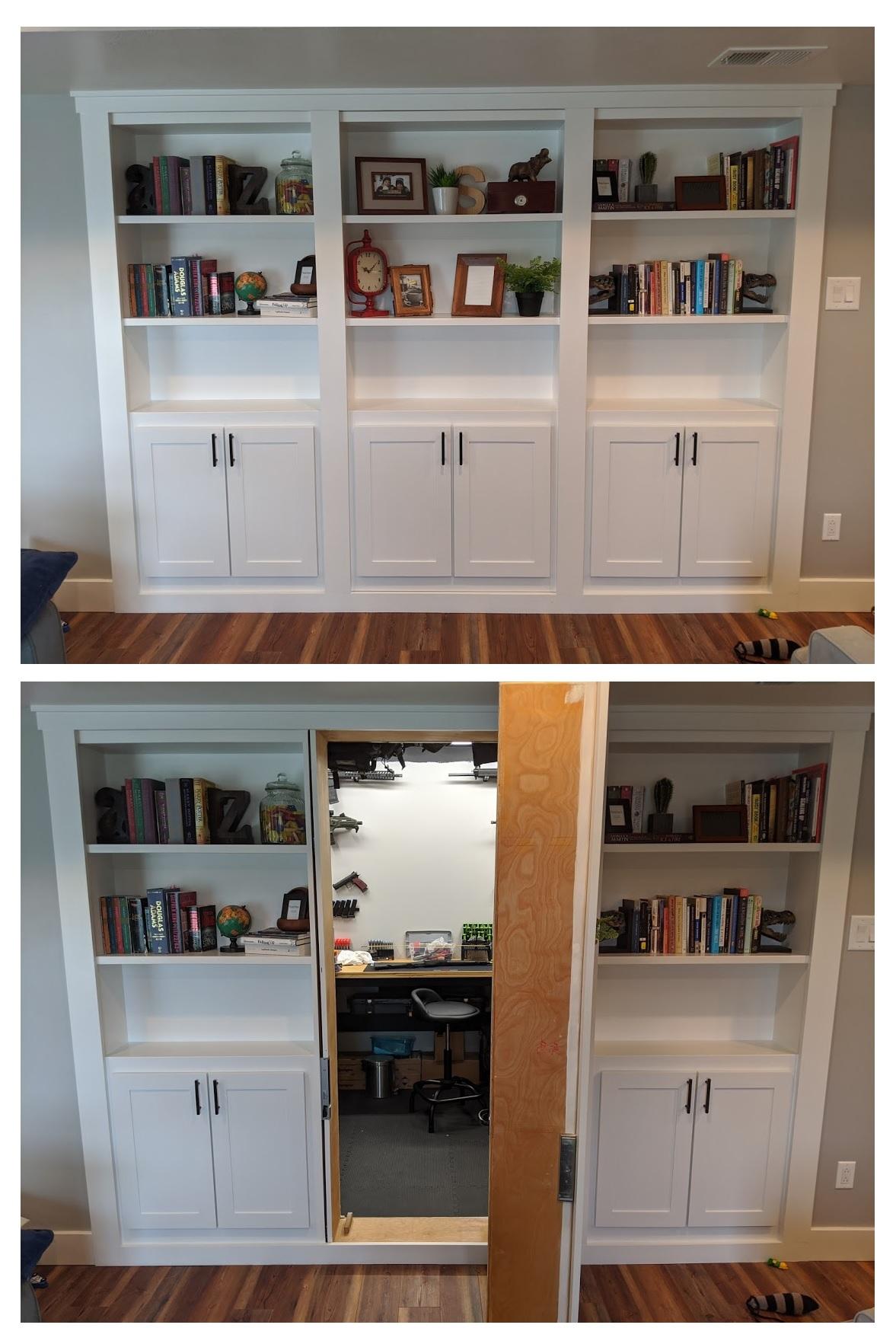 Hidden Pivot Bookcase Installation Thisiscarpentry