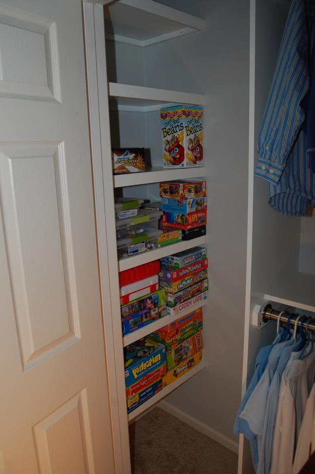 This Picture Shows The Finished Left Side Of Closet With Toys Already Loading Shelves