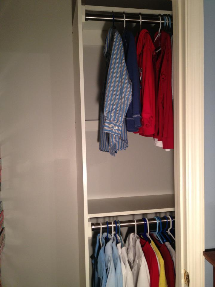 This Picture Shows The Right Side Of Closet With Upper And Lower Rods There Is An Shelf Middle