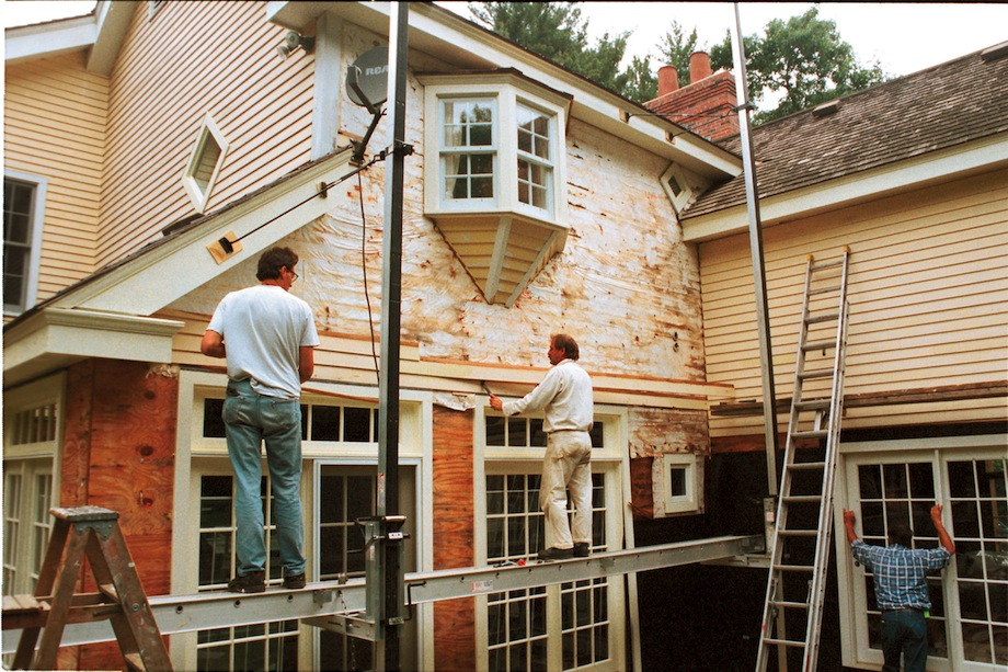 My new shop rainscreen walls thisiscarpentry - How to paint a 2 story house exterior ...